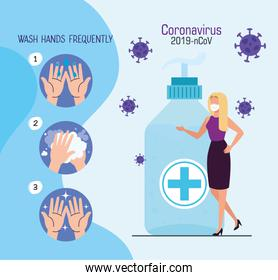 woman using face mask with antibacterial bottle and particles 2019 ncov