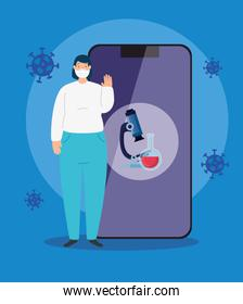 woman using face mask and smartphone with particles 2019 ncov