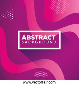 colorful geometric abstract background with waves pink color