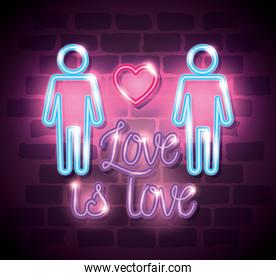 pride day neon light with label love is love