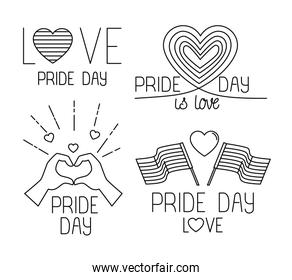 bundle of pride day icons, line style