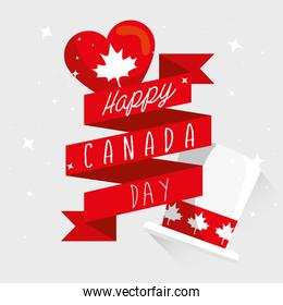 happy canada day with ribbon and decoration
