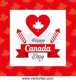 happy canada day and heart with maple leaf decoration