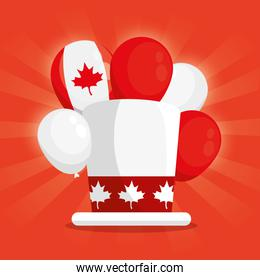 happy canada day with top hat and decoration