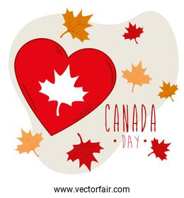 happy canada day and heart with maple leafs decoration