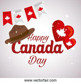 happy canada day with hat and decoration