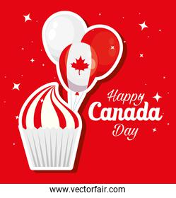 happy canada day with cupcake and decoration