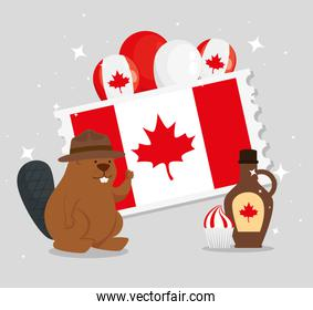 happy canada day with beaver and decoration