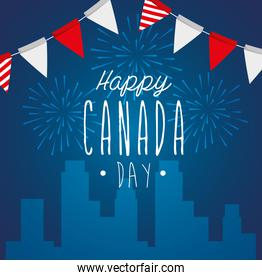 happy canada day with cityscape and garlands hanging