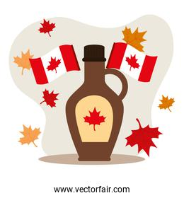 happy canada day with maple syrup and decoration