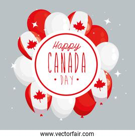 happy canada day with balloons helium decoration