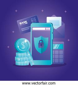 concept of bank online with smartphone and icons