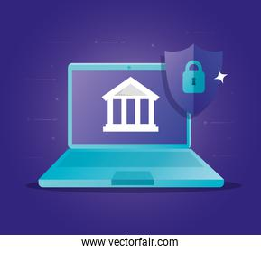 concept of bank online with laptop and icons