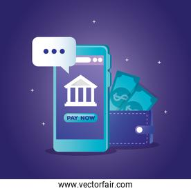 concept of bank online with smartphone and wallet