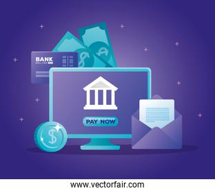 concept of bank online with computer desktop and icons