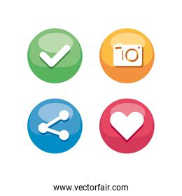 communication mobile icons and social network