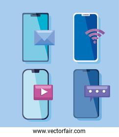social media and mobile communication concept with smartphones devices