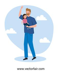 father carrying daughter avatar character