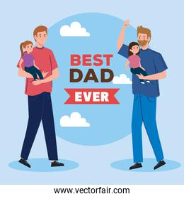 happy fathers day greeting card with daddies and daughters