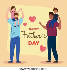 happy fathers day greeting card with daddies and children