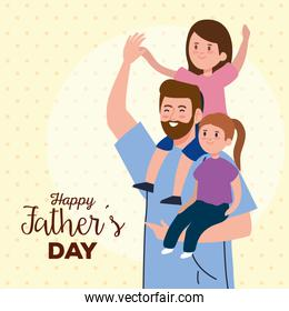 happy fathers day greeting card with dad and daughters