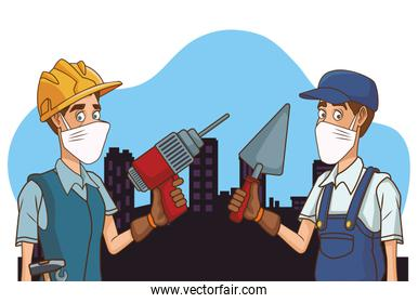 builders couple using face mask for covid19