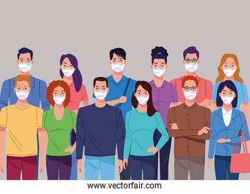 crowd of people using face mask for corona virus