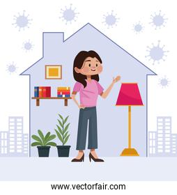 woman stay at home inside house
