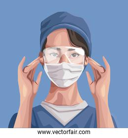 nurse using fase mask and glasses ,covid19 protection