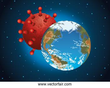 world planet earth with covid19 particle