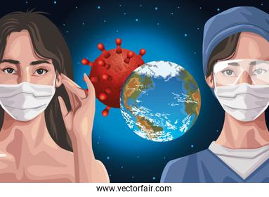 nurse and woman using fase mask with earth planet ,covid19 protection
