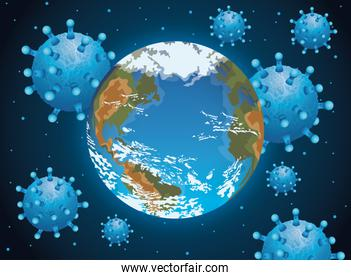 world planet earth with covid19 particles