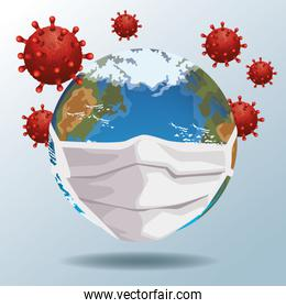 world using face mask with covid19 particles