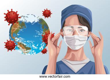 nurse using fase mask and earth planet ,covid19 protection
