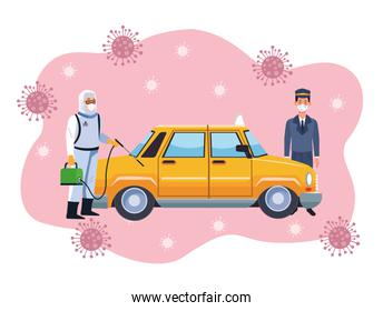biosafety worker desinfect taxi for covid19