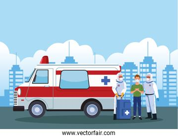 biosafety workers with patient in ambulance