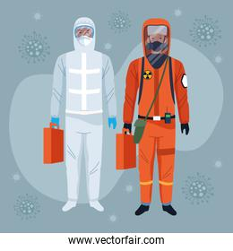 workers using white and orange protection virus suits characters