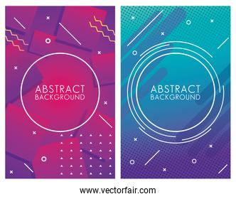 two geometric colorful abstract backgrounds
