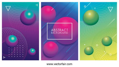 three geometric colorful abstract backgrounds