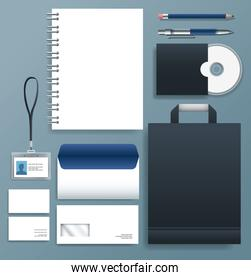 set stationary templates in gray color background
