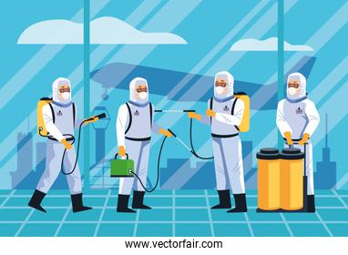 biosafety workers desinfect airport for covid19