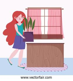 girl holding potted plant gardening in the house cartoon
