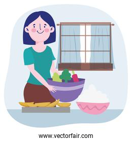 people cooking, woman with vegetable bowl dessert and cream in the table