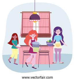 people cooking, girls with juice jar vegetables and cream in the kitchen