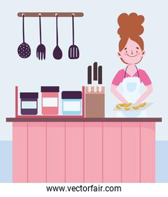 people cooking, woman with baked food counter cutlery knives in kitchen