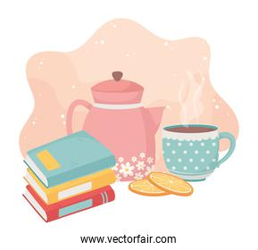 sweet home stack of books kettle coffee cup sliced oranges