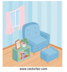 sweet home armchair footrest books frame potted plant and window