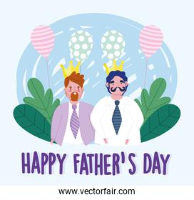 happy fathers day, young men with crowns and balloons decoration