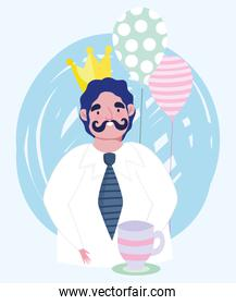 happy fathers day, dad with crown coffee cup and balloons cartoon