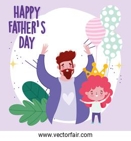 happy fathers day, dad with balloon and son with crown cartoon card